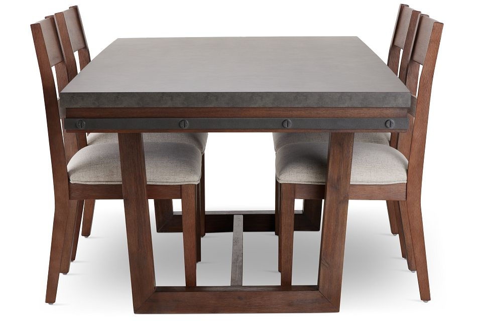 Forge Dark Tone Rectangular Table & 4 Wood Chairs,  (3)