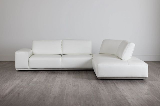 Landon White Leather Right Bumper Sectional (0)