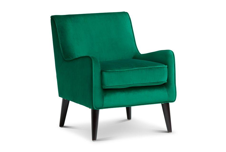 Angie Dark Green  Velvet Accent Chair,  (0)