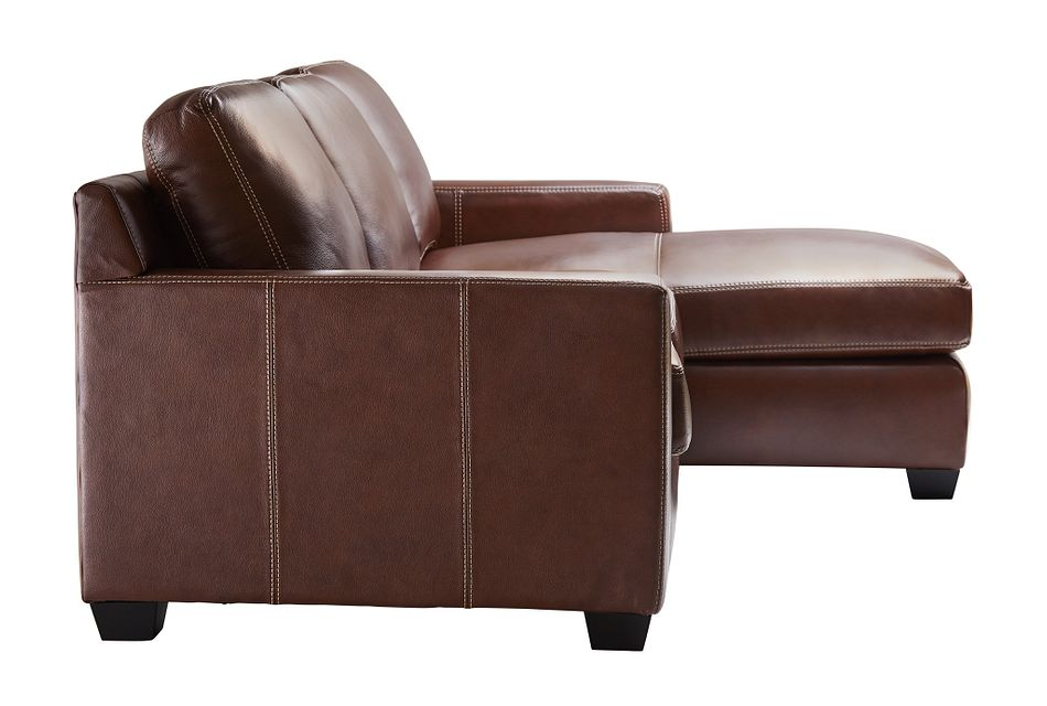Carson Medium Brown Leather Small Right Chaise Sectional