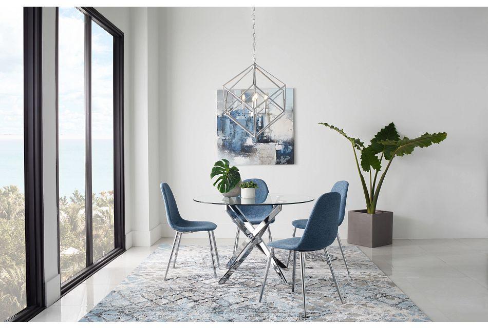 Havana Blue Upholstered Side Chair W/ Chrome Legs