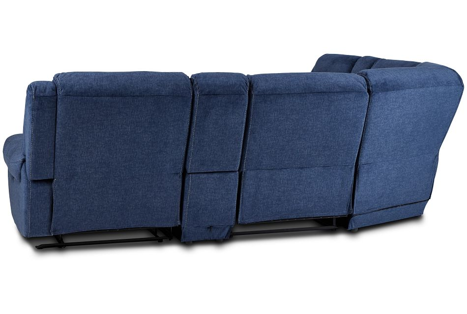 Beckett Dark Blue Micro Large Dual Manually Reclining Two-arm Sectional