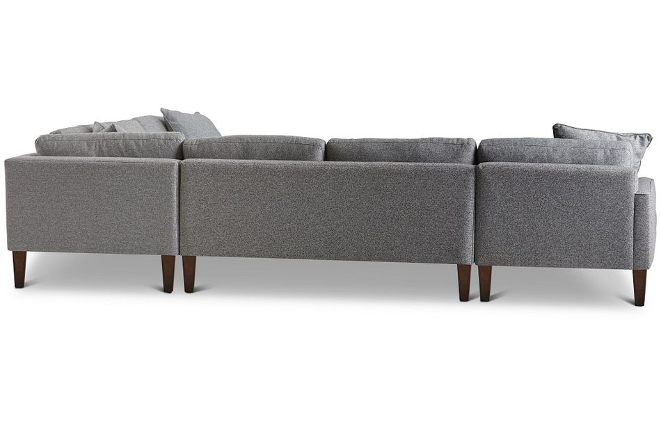 Morgan Dark Gray Fabric Medium Left Chaise Sectional W/ Wood Legs