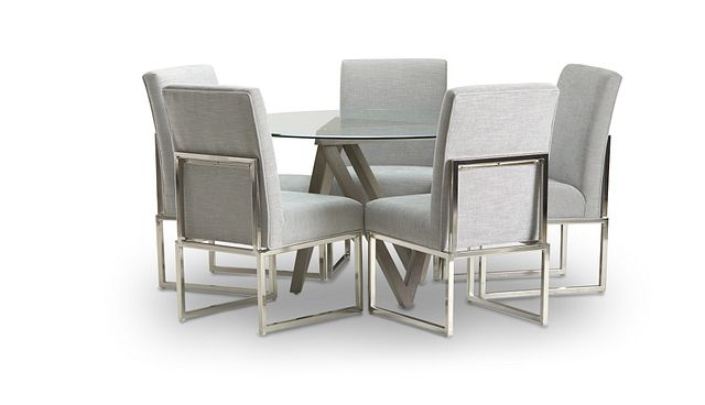 Tribeca Light Tone Glass Round Table & 4 Metal Chairs (2)