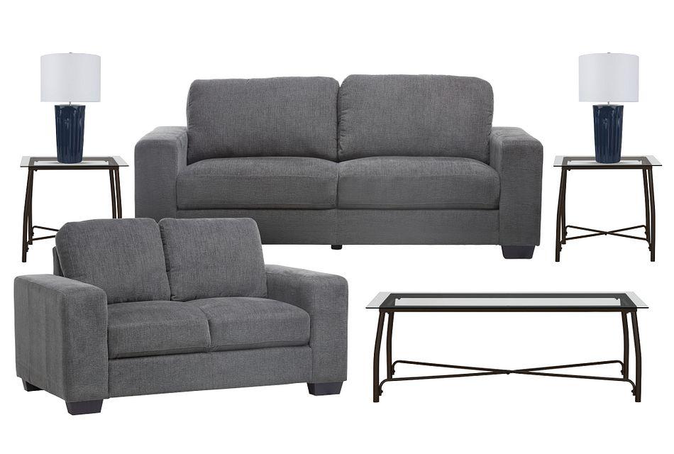 Estelle Dark Gray Fabric 7-piece Living Room Package