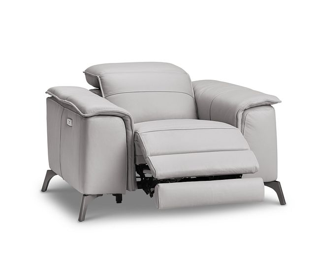 Pearson Gray Leather Power Recliner With Power Headrest (1)