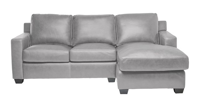 Carson Gray Leather Right Chaise Sectional (3)