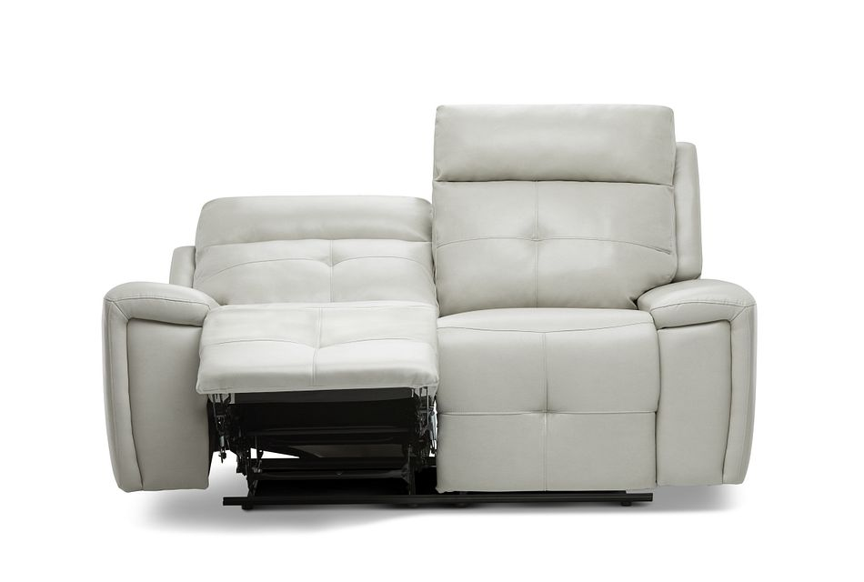 Chandler Light Gray Micro Power Reclining Loveseat