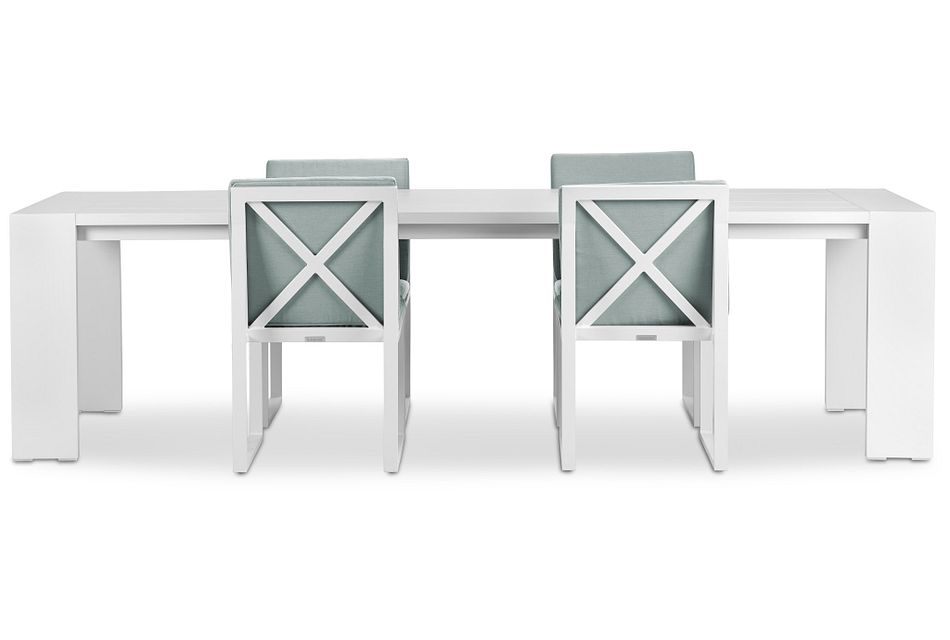 """Linear White Teal 110"""" Aluminum Table & 4 Cushioned Side Chairs"""
