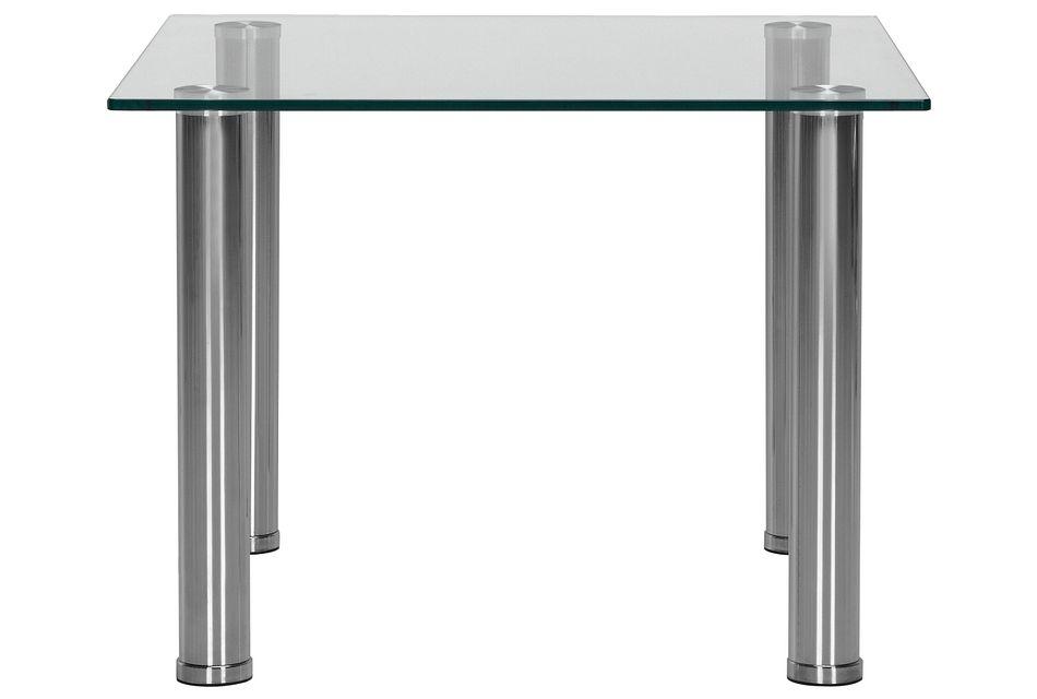 Napoli Glass Silver Square End Table