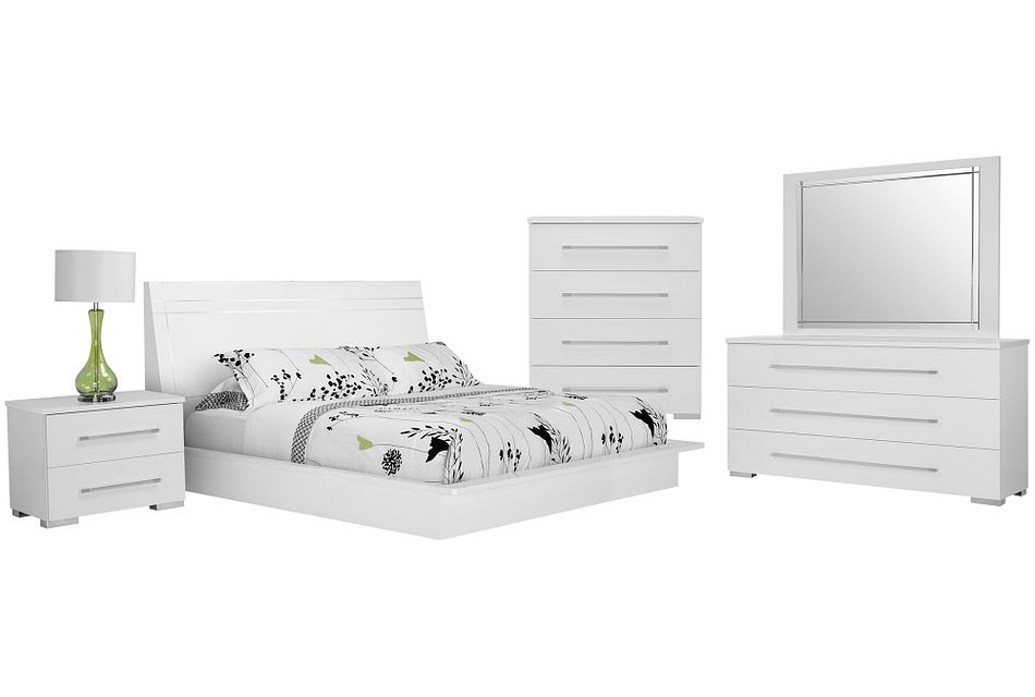 Dimora White Wood Platform Bedroom
