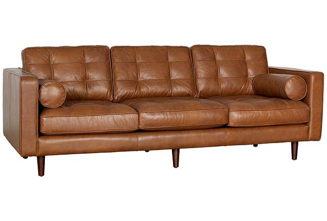 Encino Medium Brown Leather Sofa
