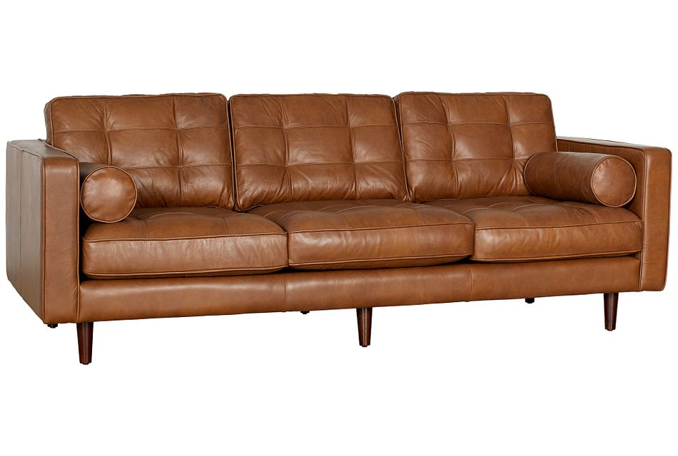 Encino Medium Brown Leather Sofa Living Room Sofas City Furniture