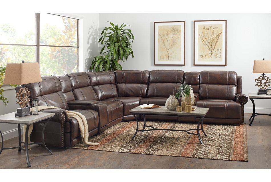 Hunter Dark Brown Micro Small Two-arm Power Reclining Sectional