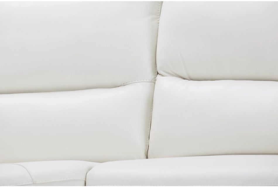 Porto White Lthr/vinyl Large Triple Power Sectional