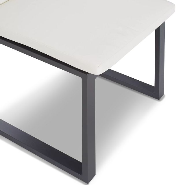 """Linear Dark Gray White 110"""" Aluminum Table & 4 Cushioned Side Chairs"""