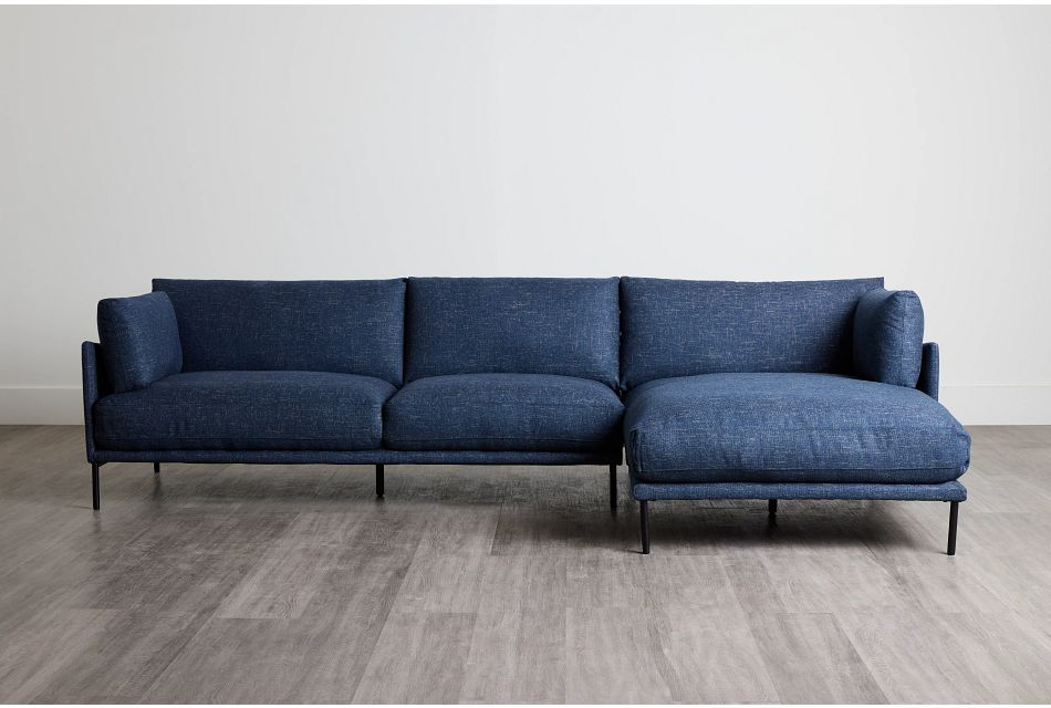 Oliver Dark Blue Fabric Right Chaise Sectional,  (0)