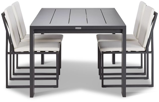 """Linear Dark Gray White 87"""" Aluminum Table & 4 Cushioned Side Chairs (1)"""