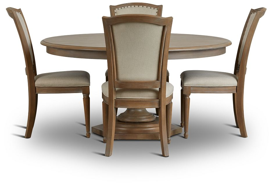 Haddie Light Tone Round Table & 4 Wood Chairs,  (3)