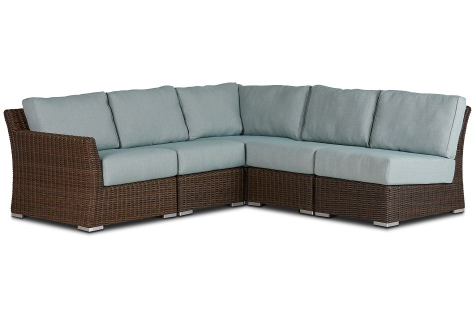 Southport Teal Left 5-piece Modular Sectional