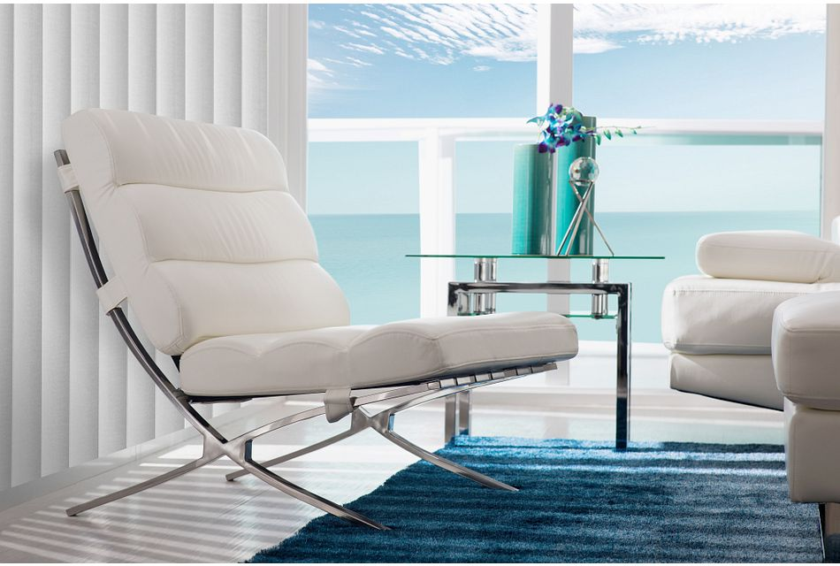 Tatiana White Micro Accent Chair