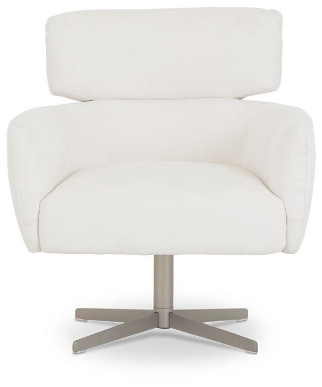 Wynn White Micro Swivel Accent Chair (3)