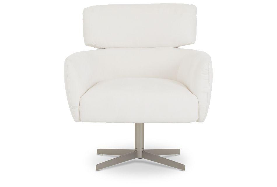 Wynn White Micro Swivel Accent Chair,  (2)