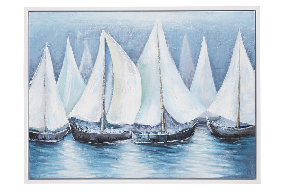 Regatta Blue Framed Canvas Wall Art