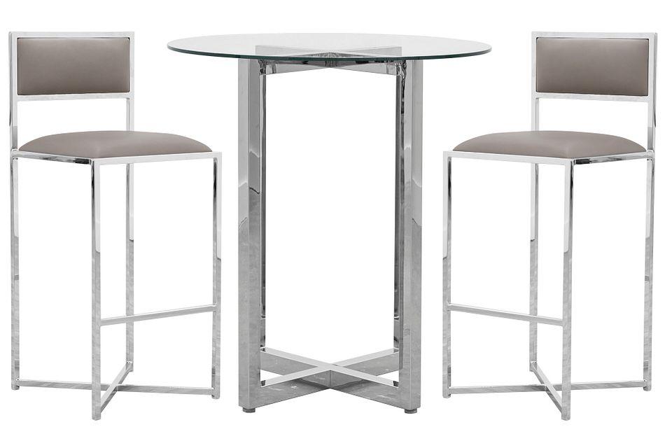Amalfi Taupe Glass Pub Table & 2 Metal Barstools