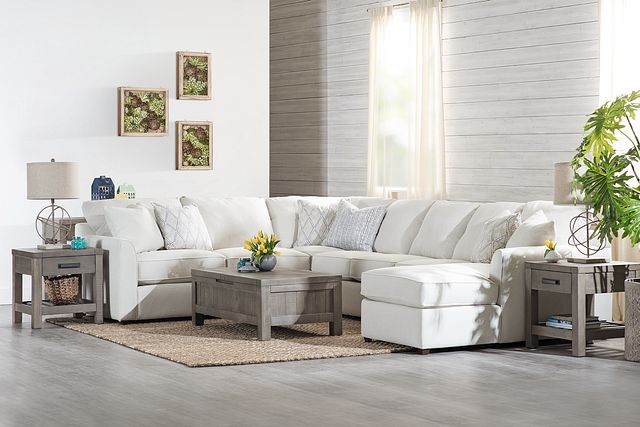 Asheville Light Taupe Fabric Large Right Chaise Sectional (1)