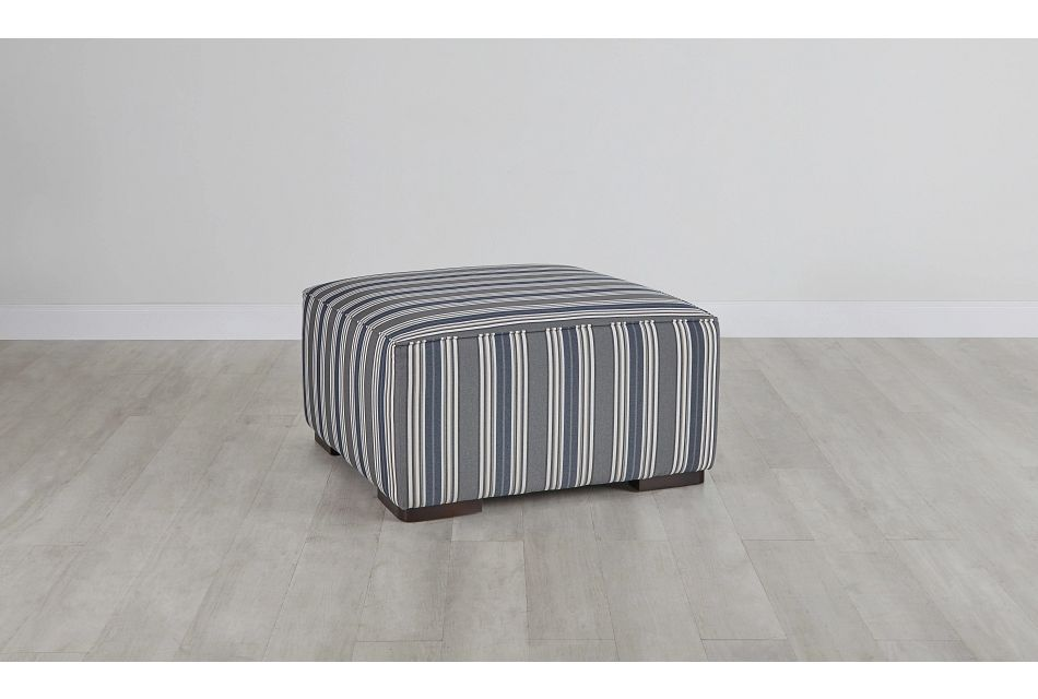 Amuse Blue Stripe Accent Ottoman