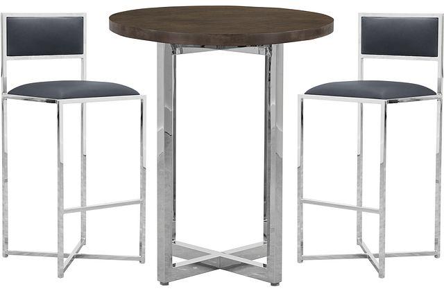 Amalfi Gray Wood Pub Table & 2 Metal Barstools (0)