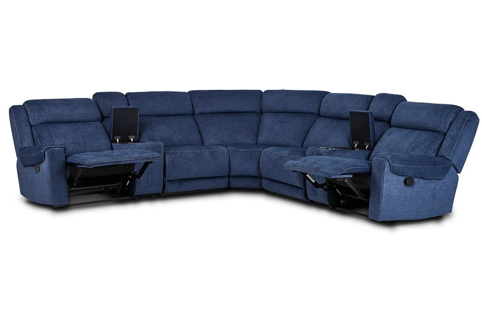 Beckett Dark Blue Micro Large Dual Manually Reclining Two-Arm Sectional,  (3)