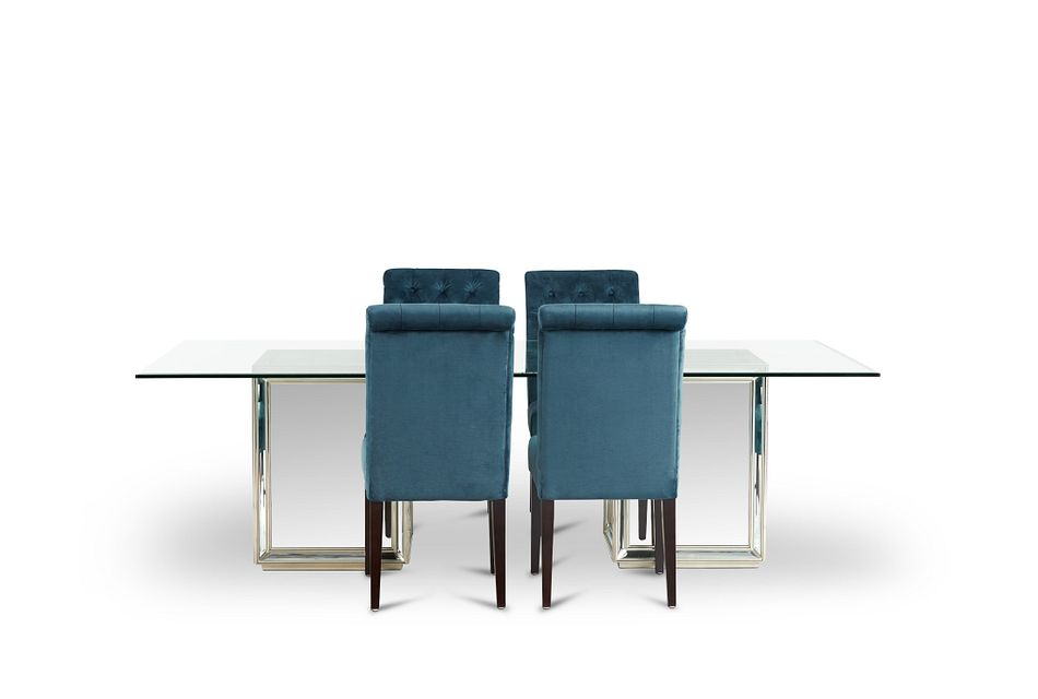 Monroe Dark Blue Glass Table & 4 Upholstered Chairs