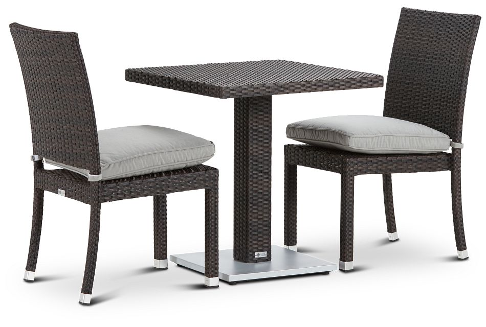 "Zen Gray 27"" Square Table & 2 Chairs"