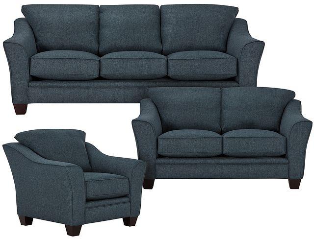 Avery Dark Blue Fabric Living Room (0)