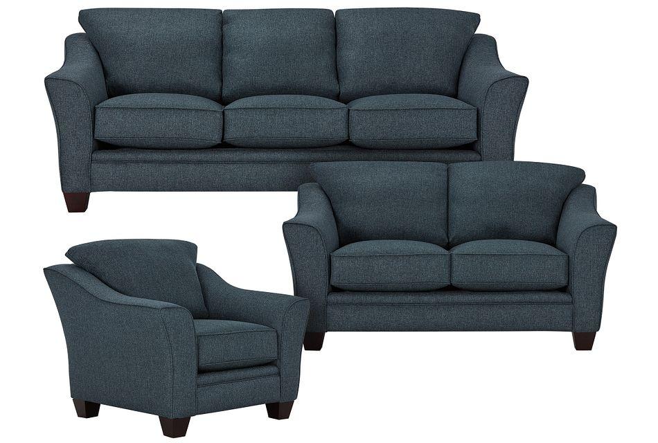 Avery Dark Blue Fabric Living Room