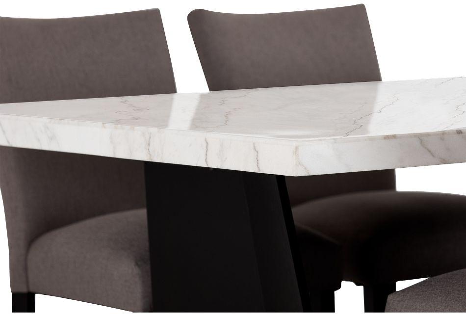 Auburn White High Table & 4 Dark Gray Upholstered Barstools, %%bed_Size%% (3)