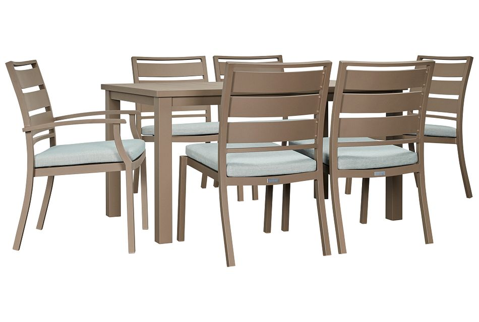 """Raleigh Teal 58"""" Rectangular Table & 4 Cushioned Chairs"""