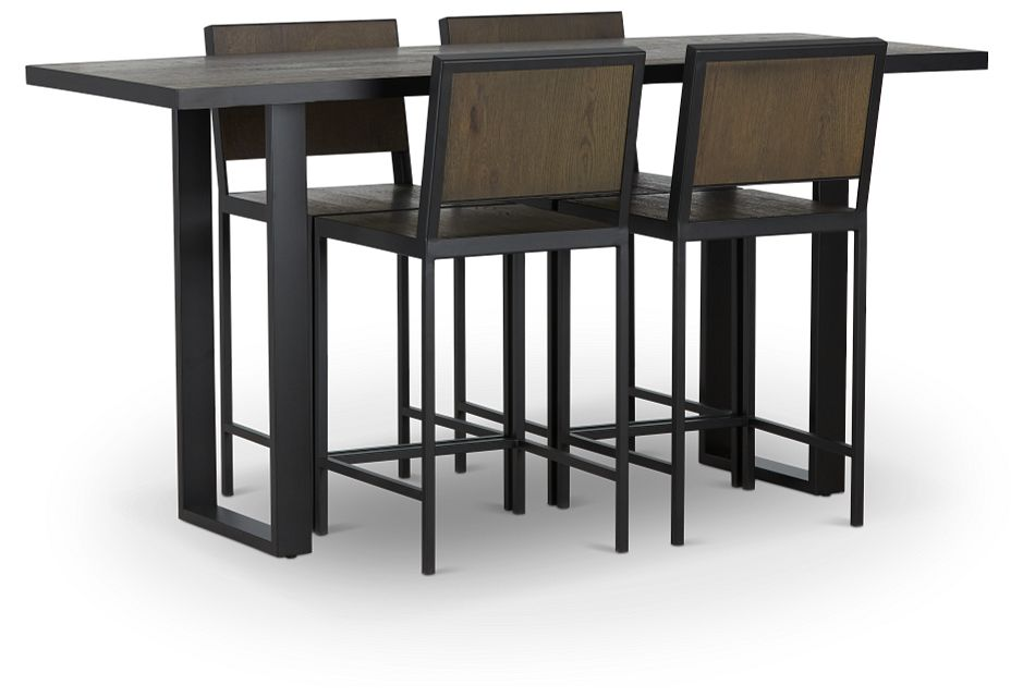 Hudson Dark Tone Wood High Table & 4 Barstools,  (2)
