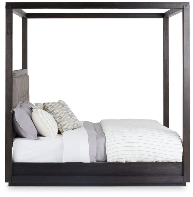 Madden Gray Fabric Canopy Bed (2)
