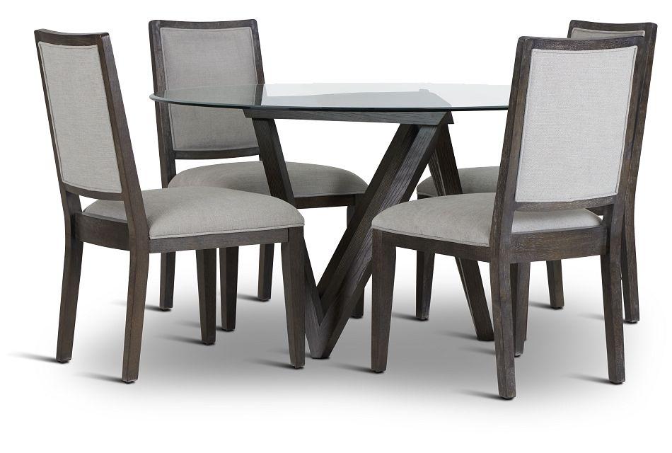 Tribeca Dark Tone Glass Table & 4 Wood Chairs,  (1)