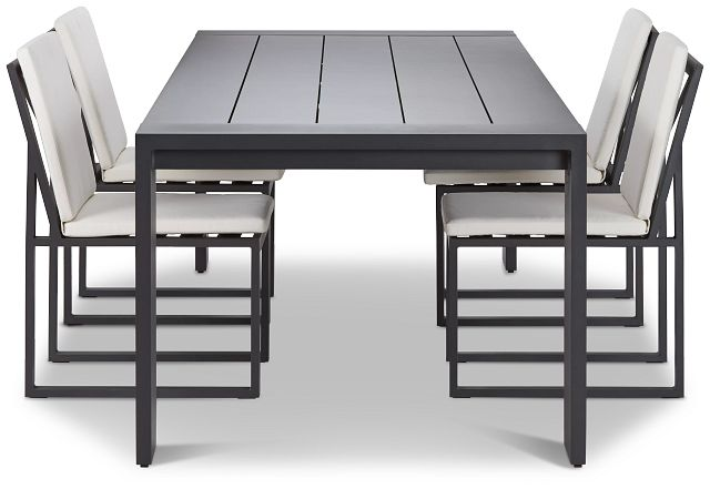 """Linear Dark Gray White 110"""" Aluminum Table & 4 Cushioned Side Chairs (1)"""