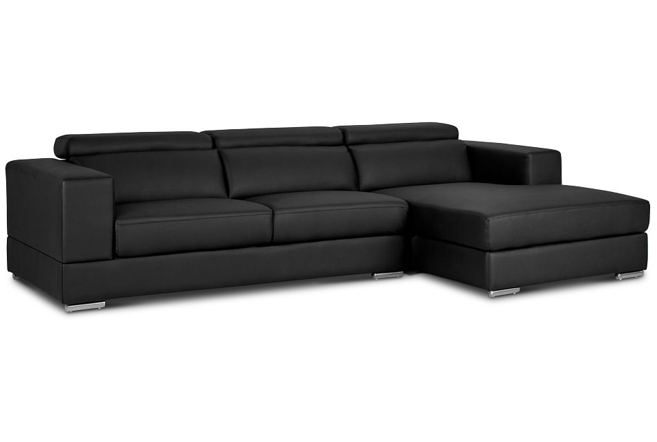 Maxwell Black Micro Right Chaise Sectional