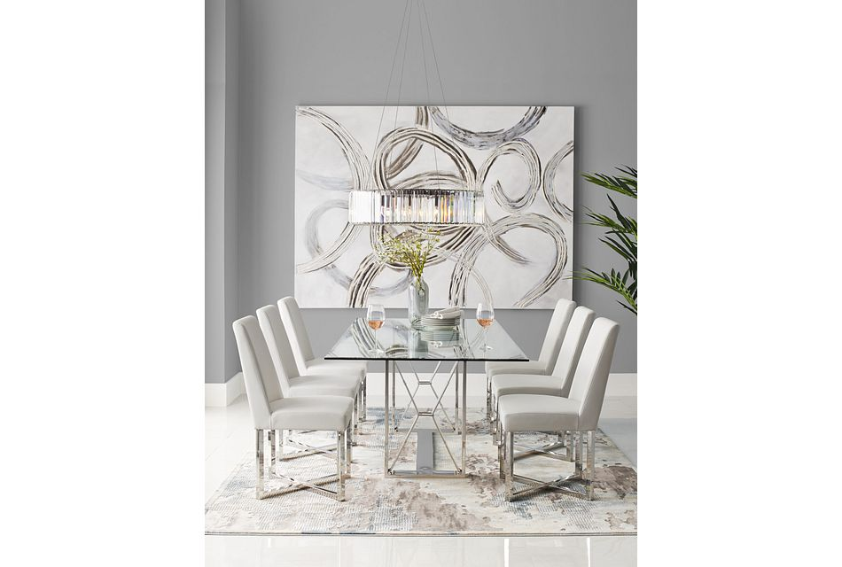 Mavis Glass White Table & 4 Upholstered Chairs