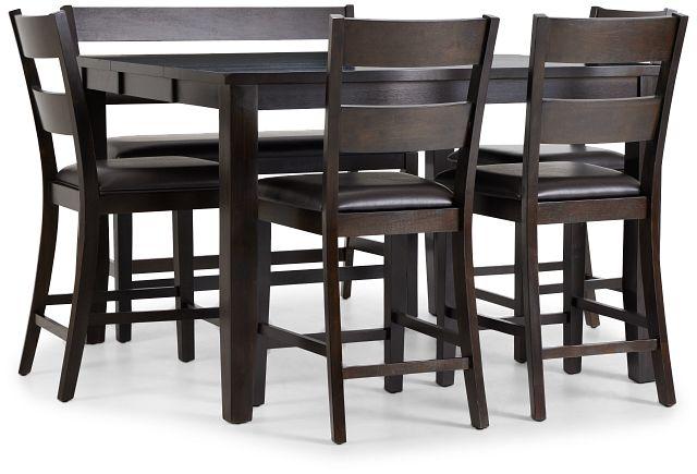 Navarro Dark Tone High Table, 4 Barstools & High Bench