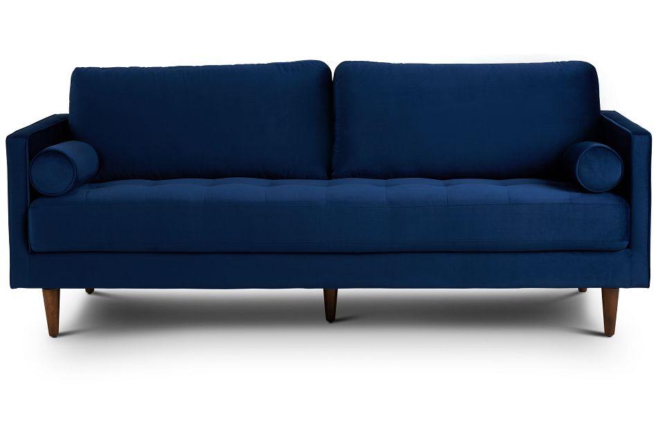 Luna Dark Blue Velvet Sofa,  (1)