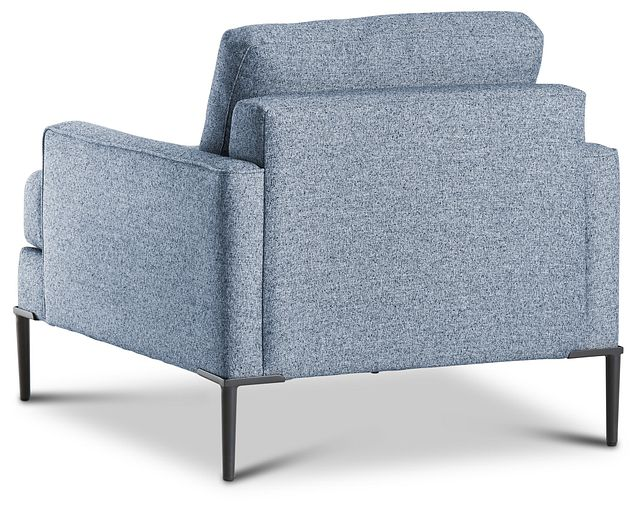 Morgan Blue Fabric Chair With Metal Legs