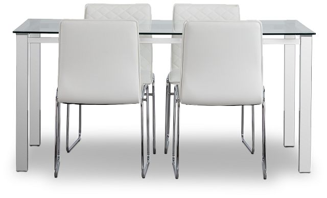 Skyline White Rect Table & 4 Metal Chairs (3)