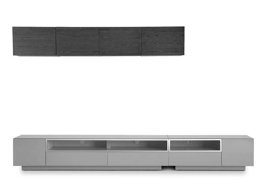 "Vancouver 134"" Gray Dk Gray 6-piece Left Modular Entertainment Wall"